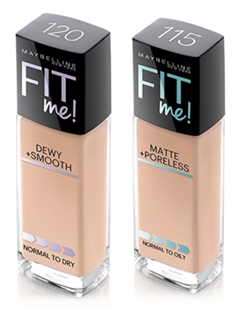 The Maybelline Fit Me! line comes in two finishes : Dewy & Smooth (for normal-to-dry skin) and Matte & Poreless (for normal-to-oily skin)